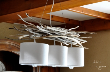 Suspension / lustre en bois flotté