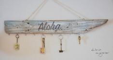 Détail accroche clé bois flotté